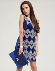 Blue Sleeveless Sequined Geometric Pattern Dress