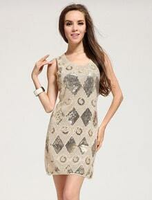 Apricot Sleeveless Sequined Geometric Pattern Dress