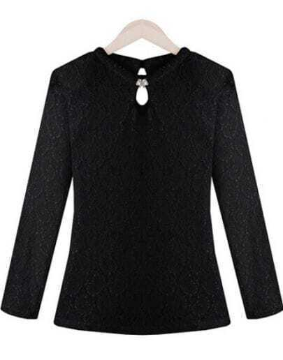 Black Long Sleeve Embroidered Lace Blouse