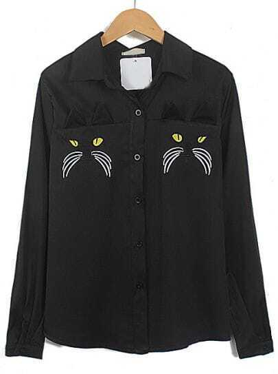 Black Lapel Long Sleeve Cat Embroidered Blouse