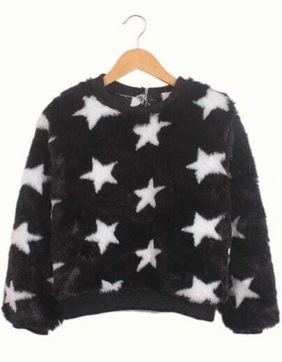 Black Long Sleeve Stars Print Faux Fur Sweatshirt
