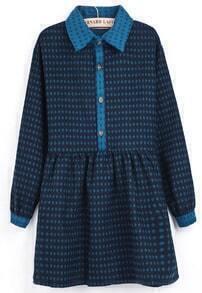 Blue Lapel Long Sleeve Floral Buttons Dress
