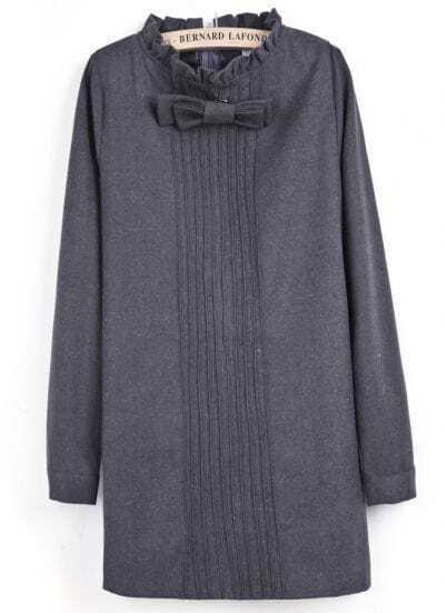 Grey Long Sleeve Bow Pleated Straight Dress