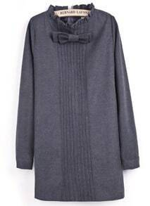 Grey Long Sleeve Bow Pleated Straight Dress