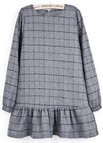 Dark Grey Long Sleeve Plaid Ruffle Dress
