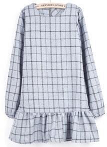 Light Grey Long Sleeve Plaid Ruffle Dress