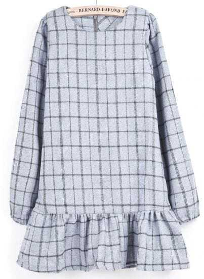 Light Grey Long Sleeve Plaid Ruffle Dress