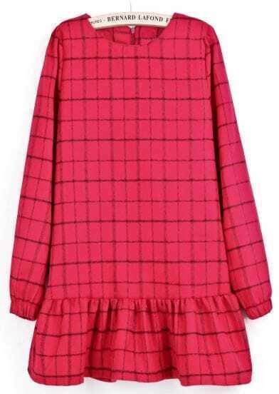 Red Long Sleeve Plaid Ruffle Dress