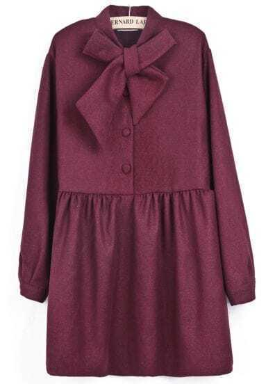 Red Long Sleeve Bow Pleated Buttons Dress