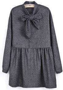 Grey Long Sleeve Bow Pleated Buttons Dress