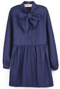 Blue Long Sleeve Bow Pleated Buttons Dress