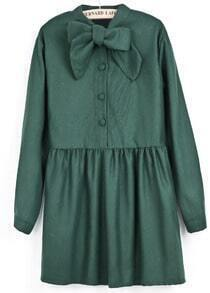 Green Long Sleeve Bow Pleated Buttons Dress