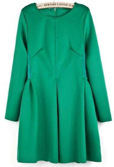 Green Long Sleeve Contrast Mesh Yoke Pleated Dress