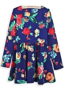 Blue Long Sleeve Floral Pleated Loose Dress
