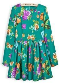 Green Long Sleeve Floral Pleated Loose Dress
