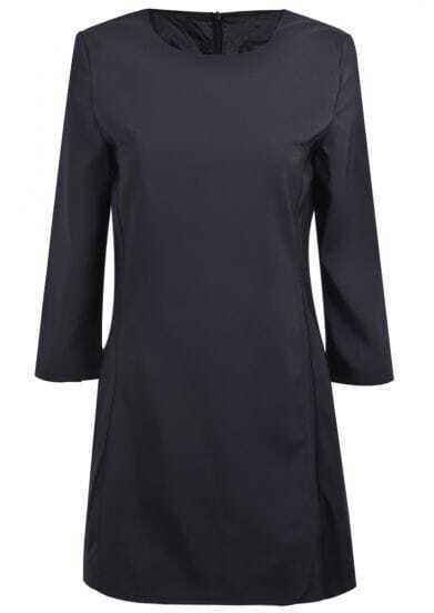 Black Long Sleeve Simple Design Ruffle Dress