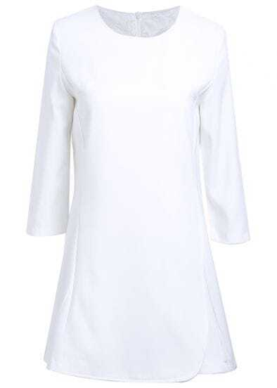 White Long Sleeve Simple Design Ruffle Dress