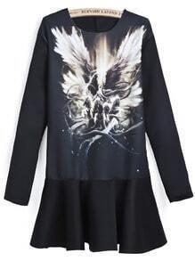 Black Long Sleeve Vintage Wing Print Dress