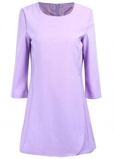 Purple Long Sleeve Simple Design Ruffle Dress