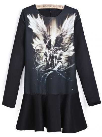 Black Long Sleeve Vintage Wing Print Dress