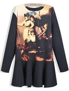 Black Long Sleeve Vintage Portraits Print Dress