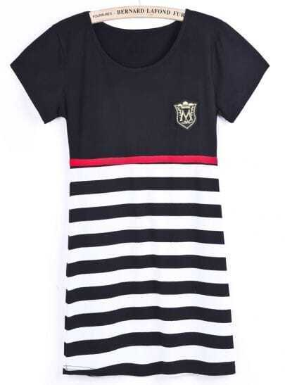 Black Short Sleeve Contrast Striped Slim Dress