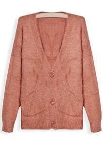 Orange V Neck Long Sleeve Pockets Mohair Sweater