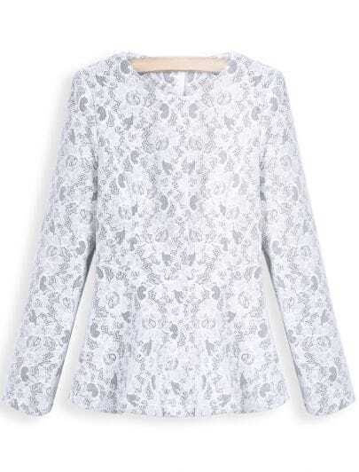 White Round Neck Long Sleeve Ruffle Lace Blouse