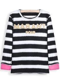 Black White Striped Letters Embellished Blouse