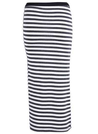 Black White Striped Bodycon Skirt