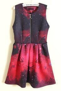Black and Red Sleeveless Zipper Embellishment Galaxy Print Dress