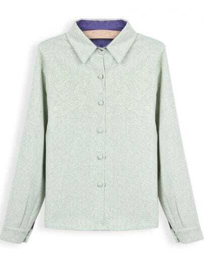 Green Lapel Long Sleeve Embroidered Blouse