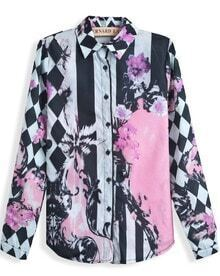 Pink Long Sleeve Geometric Floral Print Blouse