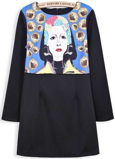 Black Long Sleeve Coins Portrait Print Dress
