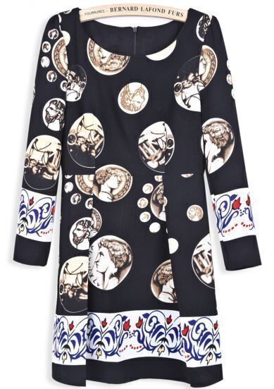 Black Long Sleeve Vintage Coins Print Dress