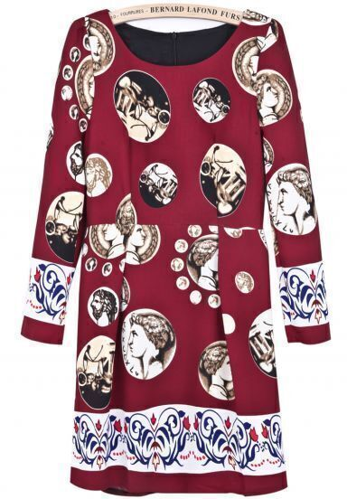 Wine Red Long Sleeve Vintage Coins Print Dress