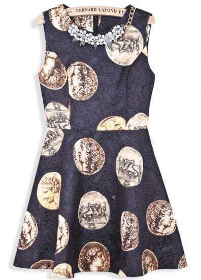 Black Sleeveless Coins Print Bead Dress