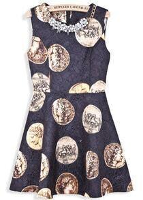 Black Sleeveless Coins Print Bead Dress