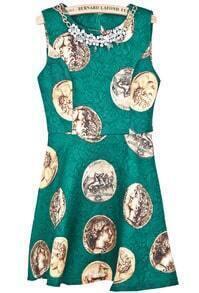Green Sleeveless Coins Print Bead Dress