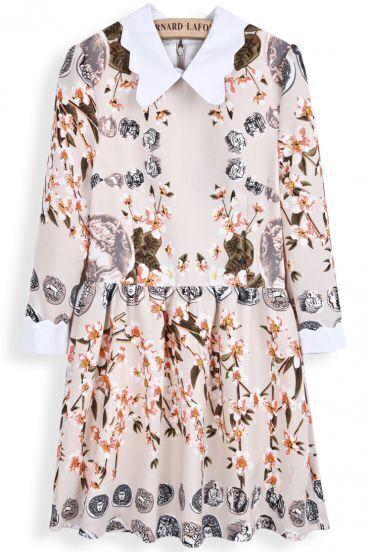 Apricot Long Sleeve Vintage Coins Floral Print Dress