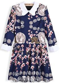 Navy Long Sleeve Vintage Coins Floral Print Dress