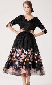Black Three Quarter Sleeve Embroidery Organza Long Dress