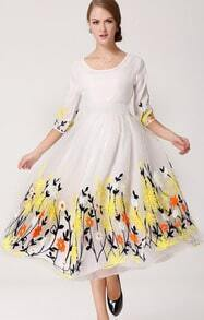 White Three Quarter Sleeve Embroidery Organza Long Dress