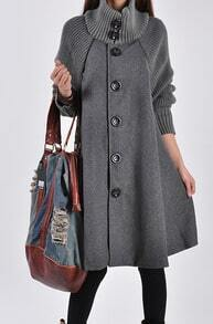 Grey Long Sleeve Contrast Knit Button Cape