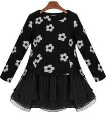 Black Long Sleeve Contrast Organza Flower Pattern Sweatshirt
