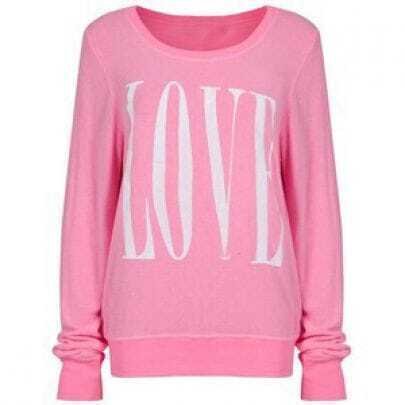 Pink Long Sleeve LOVE Print Sweatshirt