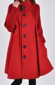 Red Long Sleeve Contrast Knit Button Cape