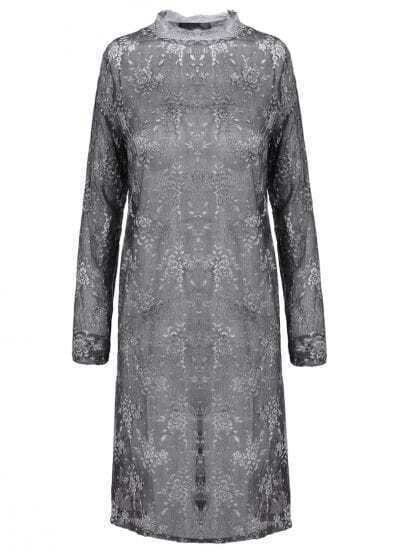 Grey Stand Collar Long Sleeve Embroidered Lace Dress