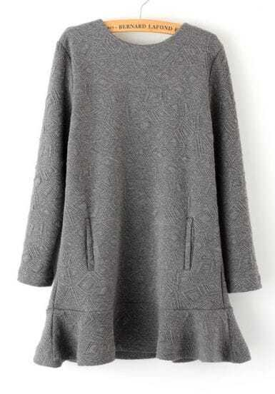 Grey Long Sleeve Diamond Pattern Ruffle Dress
