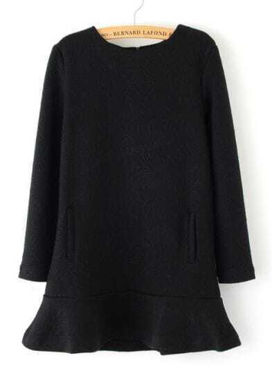 Black Long Sleeve Diamond Pattern Ruffle Dress